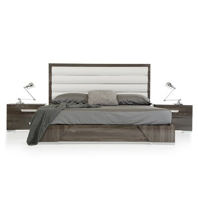 Modern Upholstered Panel Bed Size: Queen