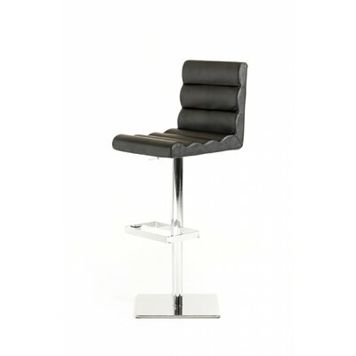 Belafonte Adjustable Height Swivel Bar Stool Upholstery: Black Leatherette