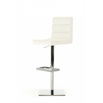 Belafonte Adjustable Height Swivel Bar Stool Upholstery: White Leatherette
