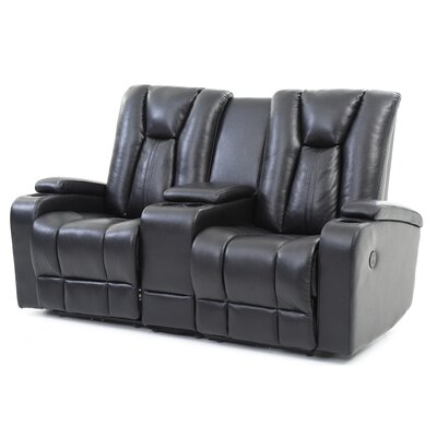 Martinsen Power Reclining Loveseat Upholstery: Black