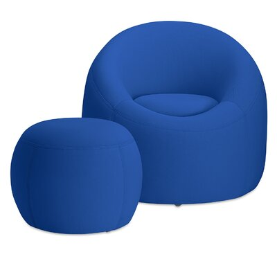 Jupiter Memory Foam Barrel Chair with Ottoman Finish: Cobalt Blue