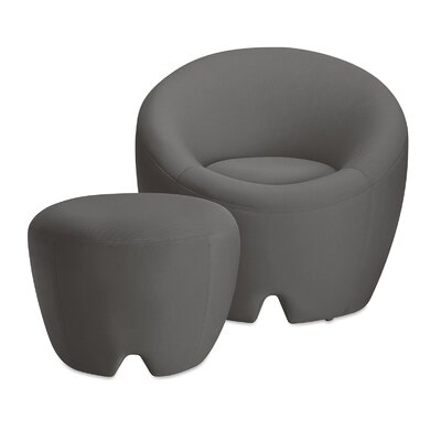 Mcnab Barrel Chair with Ottoman Upholstery: Stone Grey