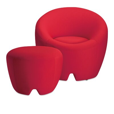 Mcnab Memory Foam Barrel Chair with Ottoman Color: Scarlet