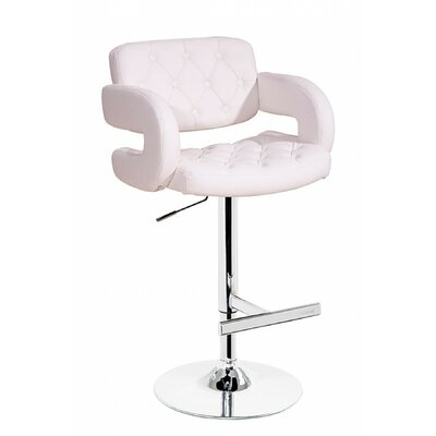 Camron Adjustable Height Swivel Bar Stool Upholstery: White