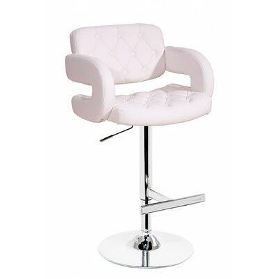 Mundt Adjustable Height Swivel Bar Stool Upholstery: White
