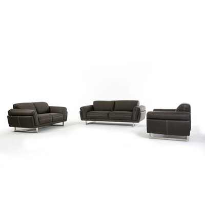 Cana 3 Piece Living Room Set Upholstery: Dark Grey