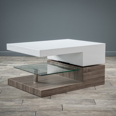 Delwood Coffee Table Finish: High Gloss White and Sonoma Oak