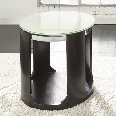 Loesch Cracked Glass Round End Table