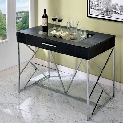 Sabelina Pub Table Finish: Chrome/Black