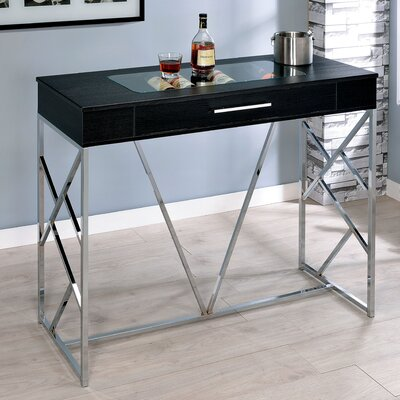 Ophion Pub Table Finish: Chrome/Black