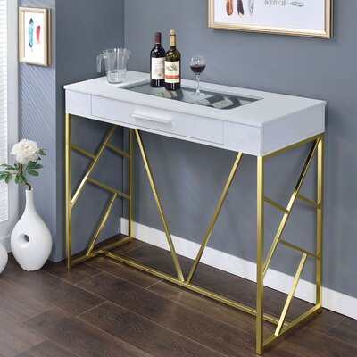 Ophion Pub Table Finish: Champagne/White