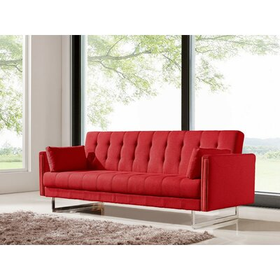 Cana Wood Frame Sleeper Sofa Color: Red
