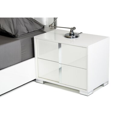Demaria 2 Drawer Nightstand Color: White, Orientation: Left Facing