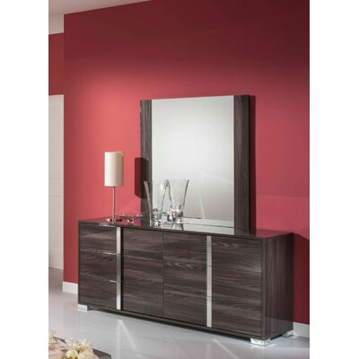 6 Drawer Dresser with Mirror Color: Gray