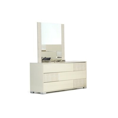 Colona 3 Drawer Dresser with Mirror Color: Beige
