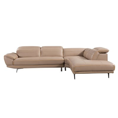 Cana Modern Cushion Back Leather Sectional