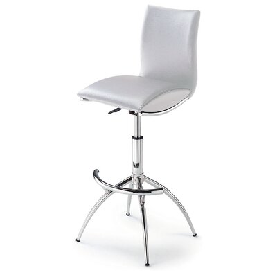 Shen Adjustable Height Swivel Bar Stool (Set of 2) Upholstery: White