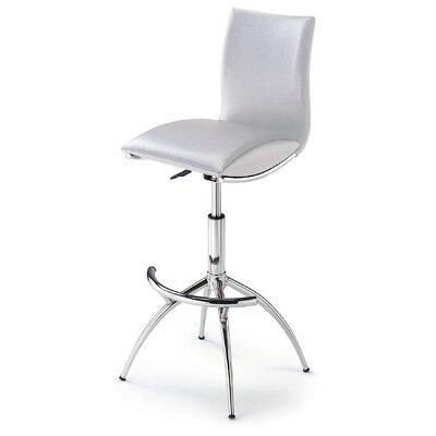 Shen Adjustable Height Swivel Bar Stool (Set of 2) Upholstery: White