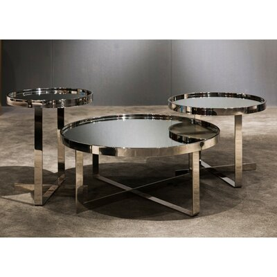 Clower Contemporary Mirrored 3 Piece Coffee Table Set