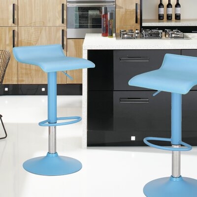 Decker Adjustable Height Swivel Bar Stool Upholstery: Blue, Finish: Chrome