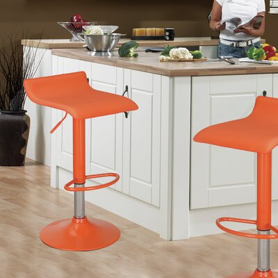 Decker Adjustable Height Swivel Bar Stool Upholstery: Orange, Finish: Chrome