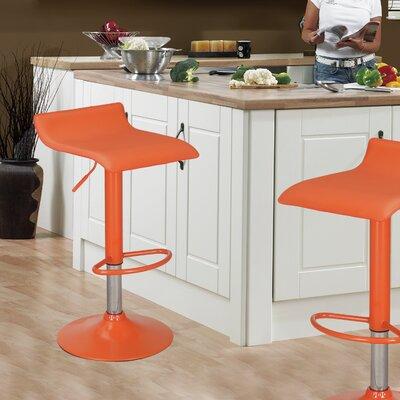 Decker Adjustable Height Swivel Bar Stool Finish: Chrome, Upholstery: Orange