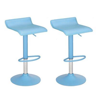 Decker Adjustable Height Swivel Bar Stool Upholstery: Blue, Finish: Chrome