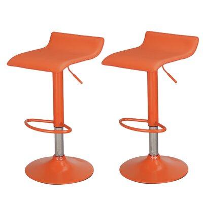 Decker Adjustable Height Swivel Bar Stool Upholstery: Orange, Finish: Chrome