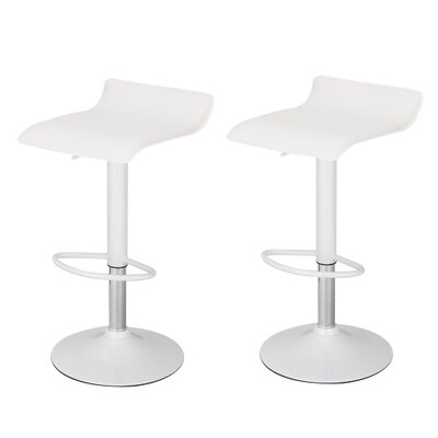Decker Adjustable Height Swivel Bar Stool Upholstery: Pine White, Finish: Chrome