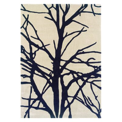 Parker Hand-Tufted Cream/Charcoal Area Rug Rug Size: Rectangle 110 x 210