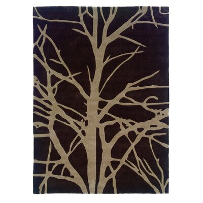 Parker Hand-Tufted Chocolate/Tan Area Rug Rug Size: 5 x 7