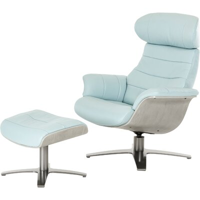 Alsatia Modern Leather Manual Swivel Recliner with Ottoman Upholstery: Blue