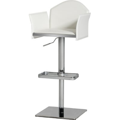 Camron Modern Adjustable Height Metal Framed Swivel Bar Stool Upholstery: White