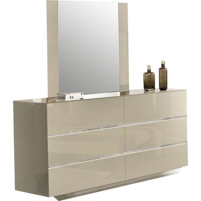6 Drawer Dresser with Mirror Color: Beige