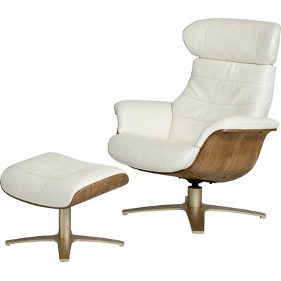 Alsatia Modern Leather Manual Swivel Recliner with Ottoman Upholstery: White