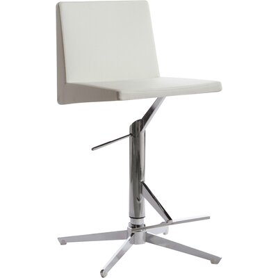 Conard Adjustable Height Swivel Bar Stool Upholstery: White
