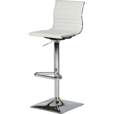 Clower Modern Footrest Adjustable Height Swivel Bar Stool Upholstery: White