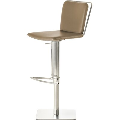 Clower Adjustable Height Bar Stool with Square Seat Upholstery: Taupe