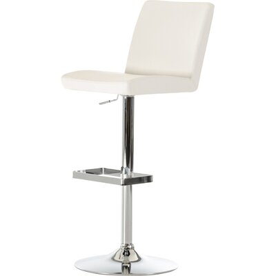 Wesley Adjustable Height Swivel Bar Stool with Cushion Upholstery: White