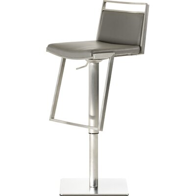 Clower Adjustable Height Swivel Bar Stool with Square Seat Upholstery: Gray