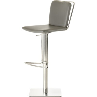 Clower Adjustable Height Bar Stool with Square Seat Upholstery: Grey
