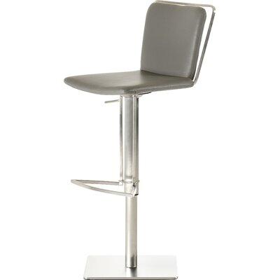 Clower Adjustable Height Swivel Bar Stool Upholstery: Grey