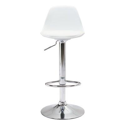 Sherrelwood Adjustable Height Bar Stool Upholstery: White