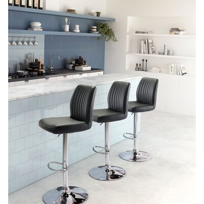 Joannie Adjustable Height Bar Stool Upholstery: Black