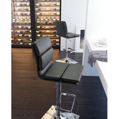 Demeter Adjustable Height Bar Stool Upholstery: Black