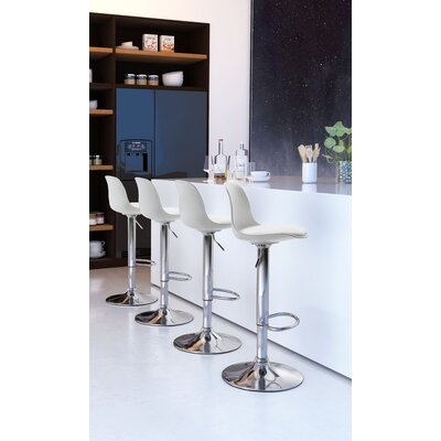 Cinthia Adjustable Height Bar Stool Upholstery: White