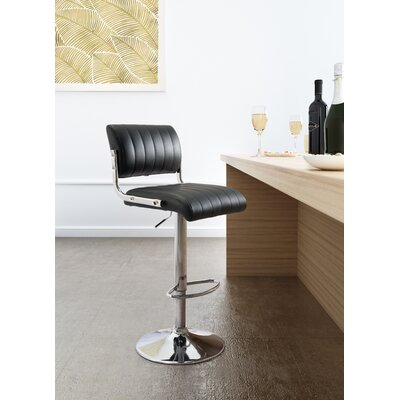 Sirius Adjustable Height Bar Stool Upholstery: Black