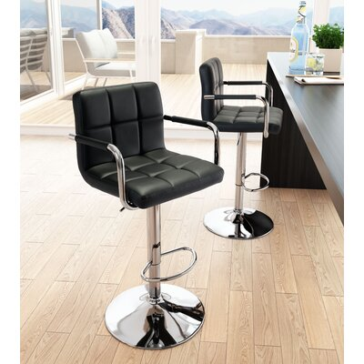 Somers Adjustable Heigh Bar Stool Upholstery: Black