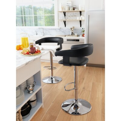 Socrates Adjustable Height Bar Stool Upholstery: Black