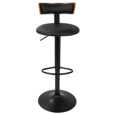 Jaidyn Adjustable Height Swivel Bar Stool Finish: Walnut/Black